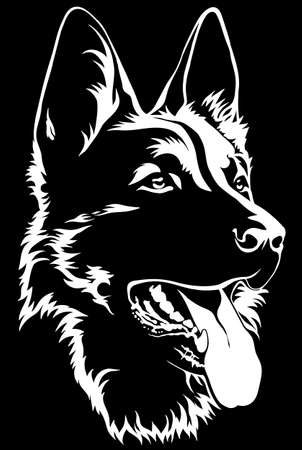 Black silhouette of a sitting German Shepherd Black and white Vettoriali