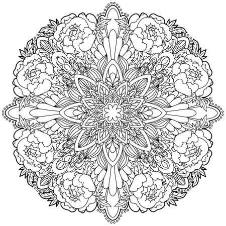 Mandala. Ethnic decorative elements. Islam, Arabic, Indian, ottoman motifs.