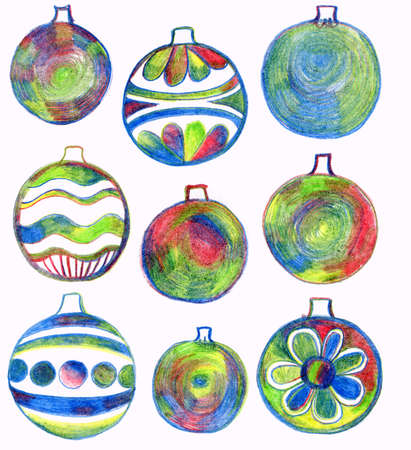 Christmas doodle background. Christmas balls in hand drawn childish sketch style. Invitation, greeting black decorative card. Abstract linear color illustration