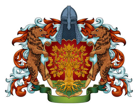 Imperial coat of arms - heraldic royal emblem shield with crown and laurel Banque d'images - 139343965