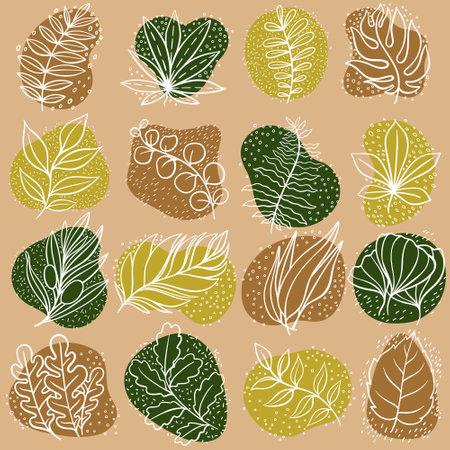 leaf line icon set, leaves - plant elements, icons