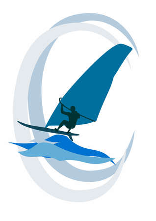 The windsurfer rides the waves on the sea Ilustração