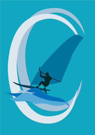 Silhouette of the windsurfer on the waves