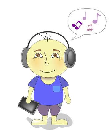 Cartoon character boy listening to music on headphones Vectores