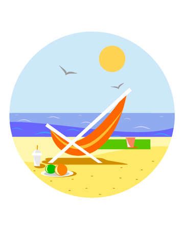 Sunny beach with reclining chair
