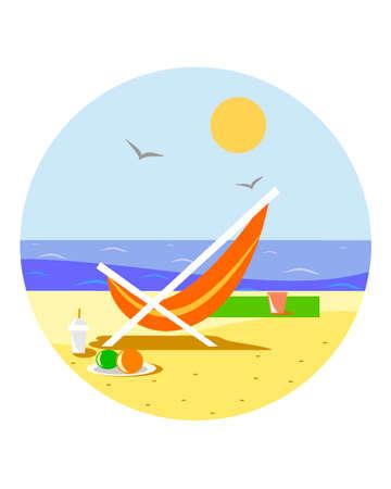 Sunny beach with reclining chair Standard-Bild - 102031151
