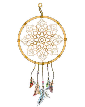 dream catcher with colored feathers on ropes