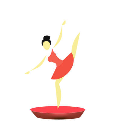 stylized ballerina in a red pack