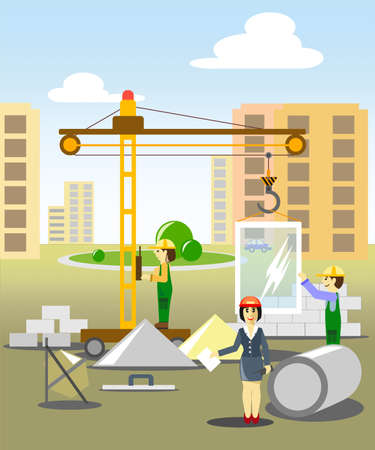 the woman the head on building, manages a building and represents as work is conducted