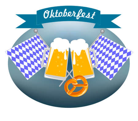 Picture for the German Oktoberfest with beer mugs, Bavarian flags and brezel