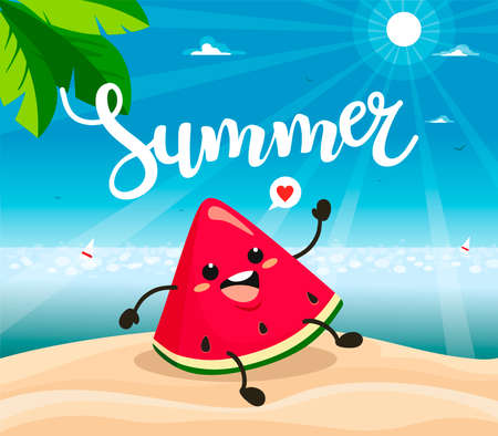 Summer poster design with vector watermelon characters. Vector