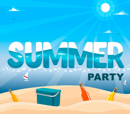 Summer banner with sea and sand, in the sand a cooler and bottles with a drink. Vector