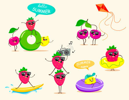 Funny and bright summer holidays. Vector fruit isolates. Summer berries