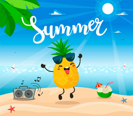 Summer poster design with vector pineapple character.
