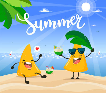 Summer poster design with vector nachos chips character.  イラスト・ベクター素材