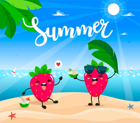 Summer poster design with vector strawberry characters.