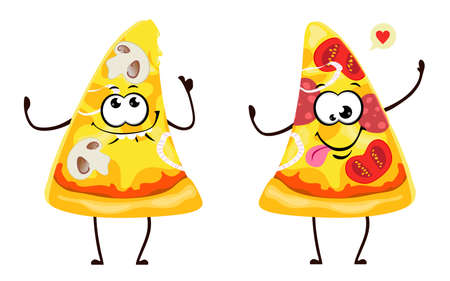 Funny pizza slices in cartoon style. Vector isolates on a white background.  イラスト・ベクター素材