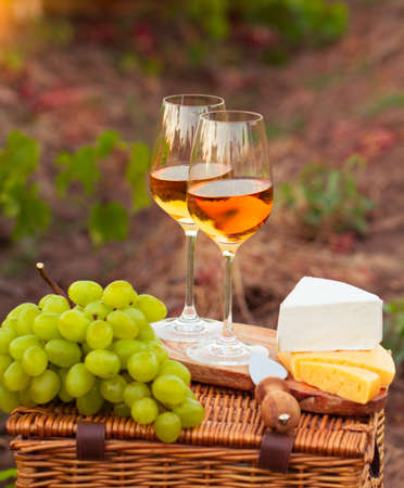sorts: Two glasses white wine, various sorts of cheese and grapes on the background of green grape leaves