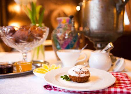high tea: High tea set with dessert, Afternoon tea set in restaurant