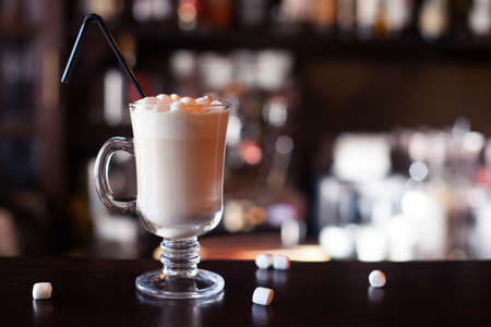 chocolate shake: Chocolate shake with marshmallows  at bar counter