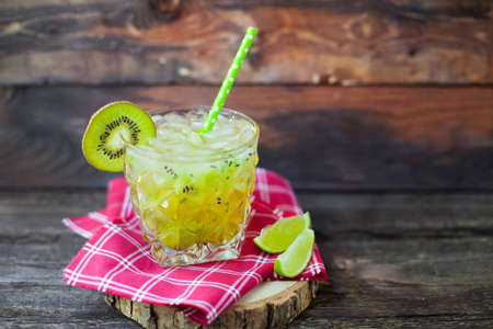Summer cocktail on a rustic wood background Stock Photo