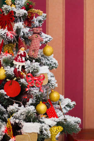 decorated tree: Christmas decorated tree, holiday wimter time Stock Photo