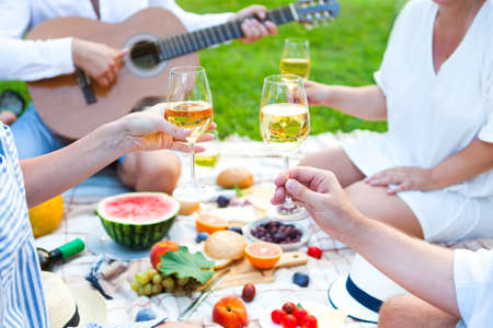 checker: Summer Picnic Basket on the Green Grass. Food and drink concept. Friends Party time Stock Photo