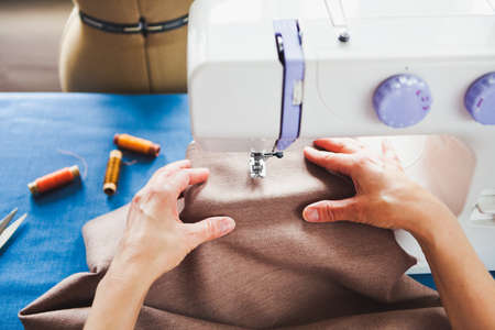 Woman Tailor Working On Sewing Machine Hands Close Up Tailoring Simple Hands Free Sewing Machine