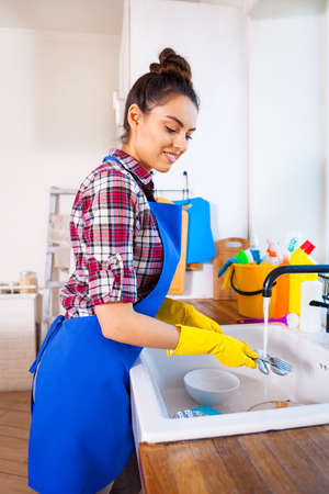 Beautiful young woman makes cleaning the house. Girl washes the dishes. Set.