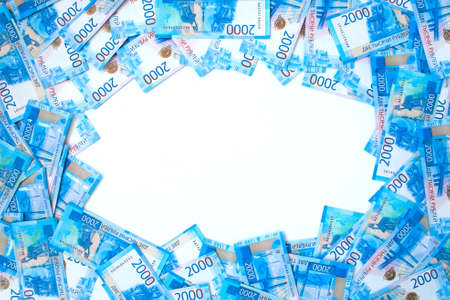 Background of money Russian banknotes currency rouble. in nominal value of two thousand. New tickets bank Russia. Close up. Rich concept