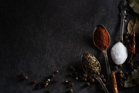 Spices pepper salt dried herbs in a teaspoon close-up on a black background flat lay