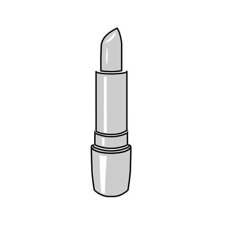 Open lipstick grayscale vector tube Ilustración de vector