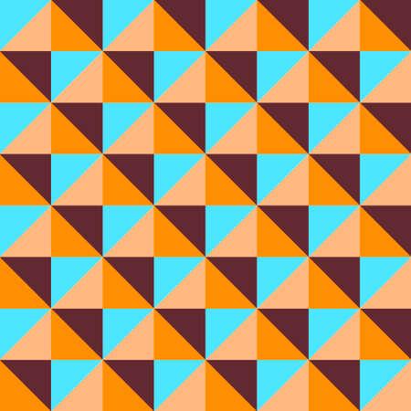 Vector quadrangular pyramid seamless pattern. Desert shades. Orange and blue colors geometric background. Bright contrasting palette. 矢量图像
