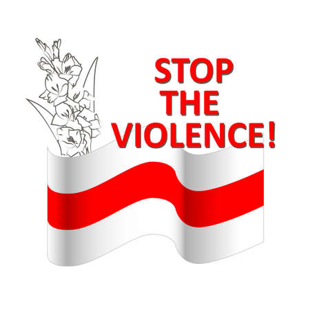 Stop violence red and white banner