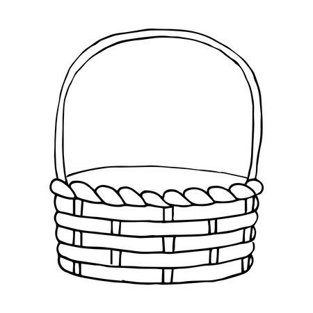 Easter line art black and white empty Wicker basket for eggs, fruits, vegetables, berries, mushrooms harvest, garden, vegetable garden, farm.
