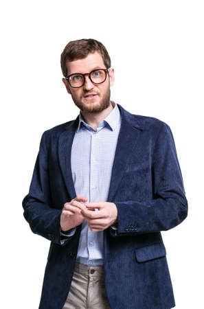 energetically: Nice man in business clothes and glasses is the presentation and energetically gesticulating hands Stock Photo