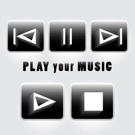 interface menu tool: Set di pulsanti del lettore Vettoriali