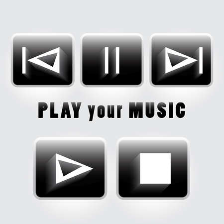 player controls: Set of player buttons Illustration