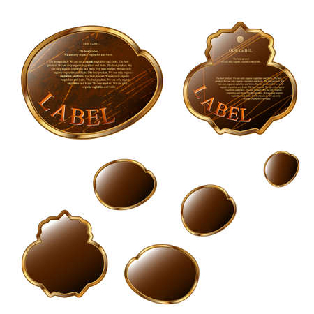 oval  alcohol: Brown labels set  Some label�s shapes Illustration