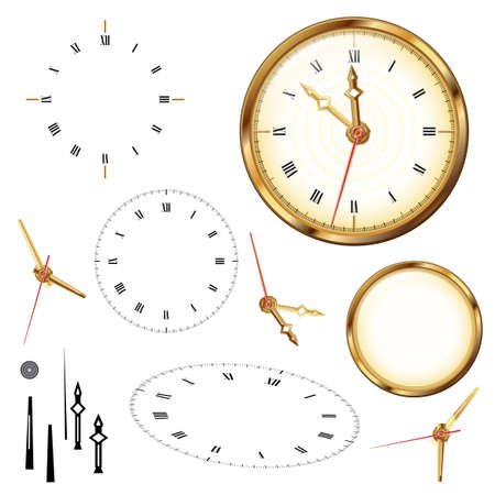 Golden clock and elements of clock on the white background Vector