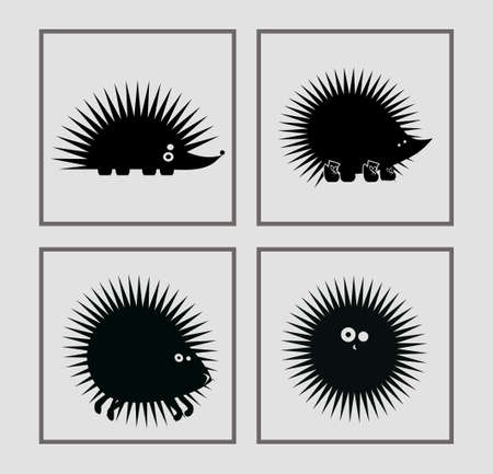 prickly: prickly vector hedgehogs in various poses