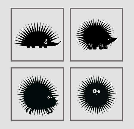 hedgehog: prickly vector hedgehogs in various poses