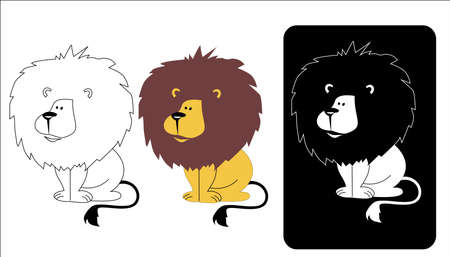 sedentary: vector illustration of the kind of sedentary furry lion