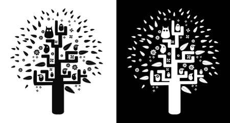 desires: black-and-white tree of desires Illustration