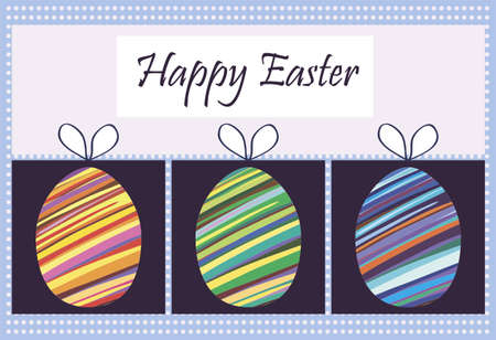 banding:  card greeting happy Easter and a picture of eggs Packed with bows