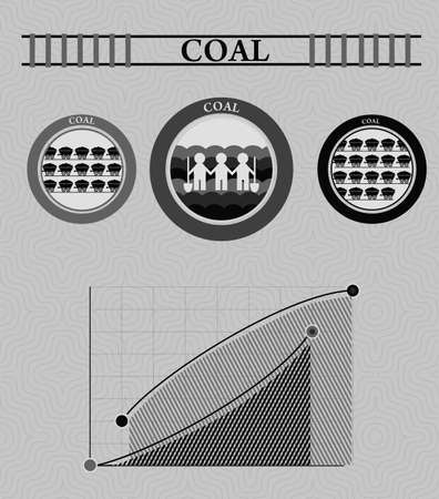 coal mining: vintage infographics coal industry and coal mining