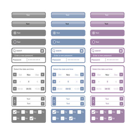 developers: vector web elements and buttons for developers Illustration