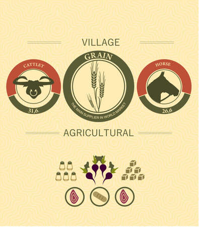 dacha: vintage infographics of agriculture and farming with Pets