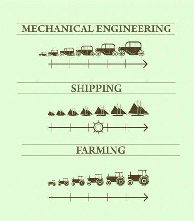 fleet: Vintage infographics of heavy industry and Navy