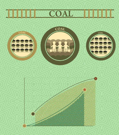 mine data: vintage infographics coal industry and coal mining